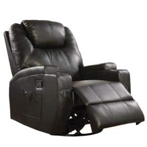 Contemporary Black Polyurethane Upholstered Metal Rocker Recliner with Swivel