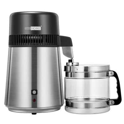 16-Cup Brushed 304 Stainless Steel Water Distiller Machine with a Switch Purifier Filter