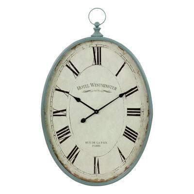 Sonia Blue Oval Wall Clock