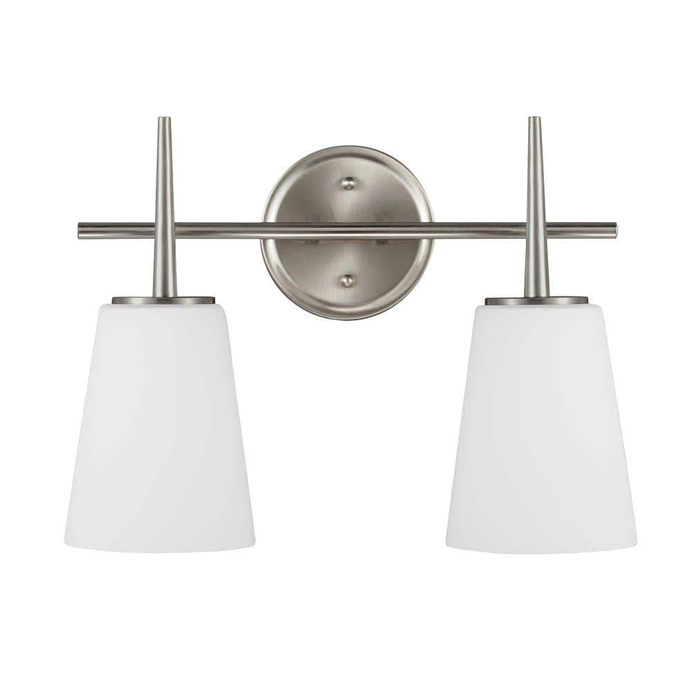 Sea Gull Lighting Driscoll 2 Light Brushed Nickel Wall Bath Vanity Light With Inside White Painted Etched Glass 4440402 962 The Home Depot