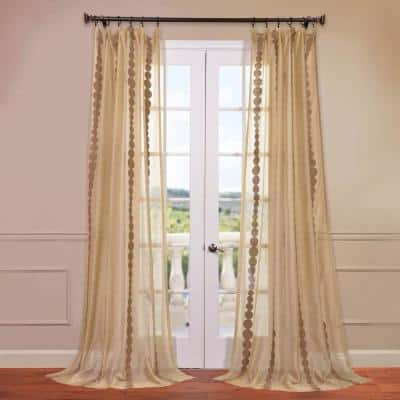 Cleopatra Gold Striped Embroidered 50 in. W x 84 in. L Rod Pocket Sheer Curtain (Panel 1)