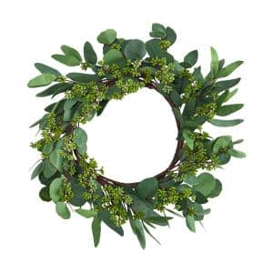 22 in. Eucalyptus and Berry Artificial Wreath