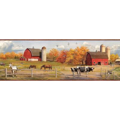 Jonny Red American Farmer Portrait Red Wallpaper Border
