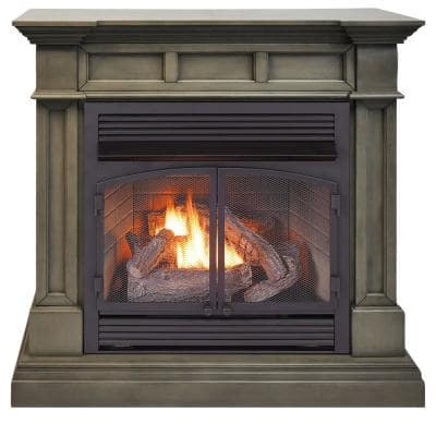 45 in. Full Size Ventless Dual Fuel Fireplace in Slate Gray with Remote Control