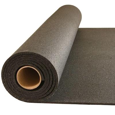 Plyometric Black 4 ft. W x 10 ft. L Rubber Gym Aerobic Exercise Flooring Roll (40 sq. ft.)