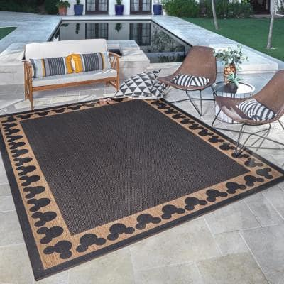 Mickey Mouse Chestnut/Black 8 ft. x 10 ft. Border Indoor/Outdoor Area Rug