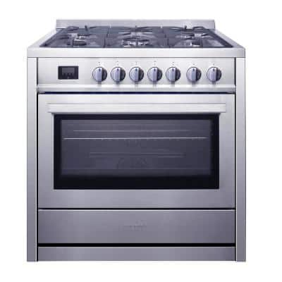 36 in. 3.8 cu. ft. 5-Burners Gas Range Convection Oven in Stainless Steel with Storage Drawer
