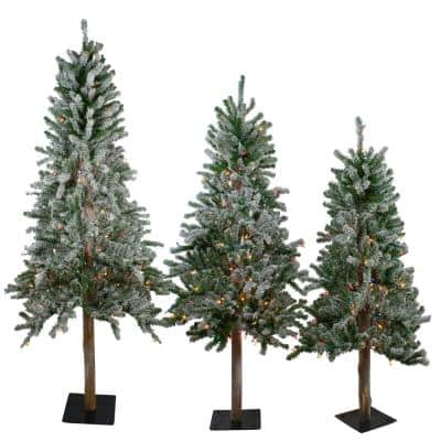 4 ft., 5 ft. and 6 ft. Pre-Lit Flocked Alpine Artificial Christmas Trees - Multi-Lights (Set of 3)