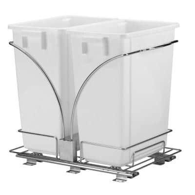 Household Essentials 9 Gal. Double Under Cabinet Double Sliding Trash Can Caddy White, Chrome