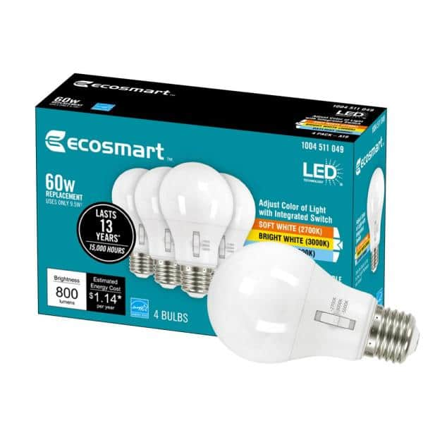 Ecosmart 60 Watt Equivalent A19 Dimmable Led Light Bulb Selectable Cct 4 Pack A9a19a60wt20c04 The Home Depot