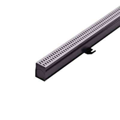 2-1/4 in. x 6 ft. Slim Channel Drain Kit Gray Grates, End Caps, Outlets, Coupling and Anchor Clips