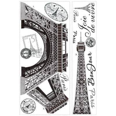18 in. x 40 in. Eiffel Tower 13-Piece Peel and Stick Giant Wall Decal