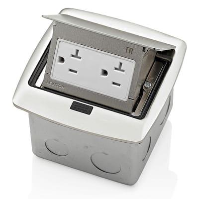 Pop-Up Floor Box with 20 Amp, Tamper-Resistant Outlet, Brushed Nickel