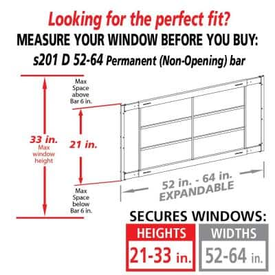 Fixed 52 in. to 64 in. Adjustable Width 4-Bar Window Guard - White