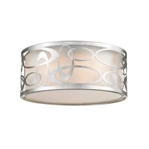 Panache 3-Light Brushed Nickel Pendant with White Fabric Shade