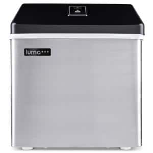 28 lb. of Ice a Day Countertop Clear Portable Ice Maker BPA Free Parts Perfect for Cocktails and Soda in Stainless Steel