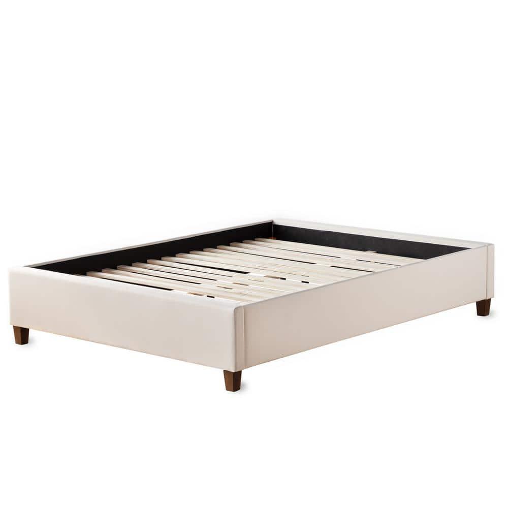 Brookside Ava Cream King Upholstered Platform Bed With Slats Bskkpeuppl The Home Depot