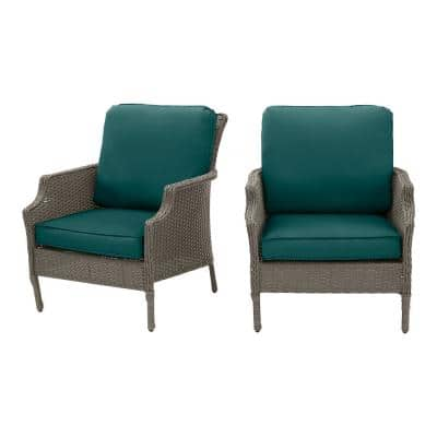 Grayson Ash Gray Wicker Outdoor Patio Lounge Chair with CushionGuard Malachite Green Cushions (2-Pack)