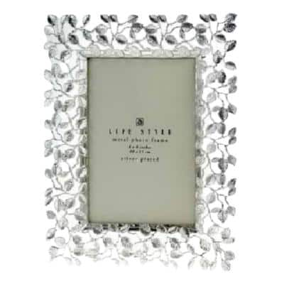 4 in. x 6 in. Silver Plated Leaves Border Picture Frame