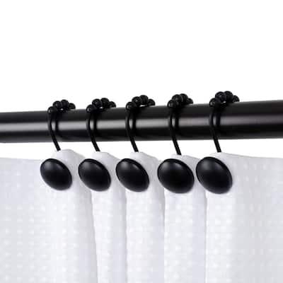 Shower Beatrice Curtain Hooks, Shower Curtain Hooks for Bathroom Shower Rods Curtains, Black (Set of 12)