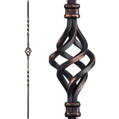 Twist and Basket 44 in. x 0.5 in. Oil Rubbed Copper Single Basket Solid Wrought Iron Baluster