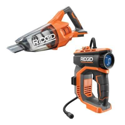 18V Cordless High Pressure Inflator and Compact Hand Vacuum (Tools Only)