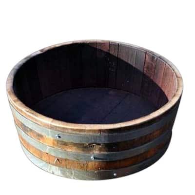Watertight 24 in. W x 10 in. H Oak Shallow Wine Barrel Planter