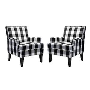 Herrera Black Biffalo Arm Chair with Nail Head Trim Set of 2
