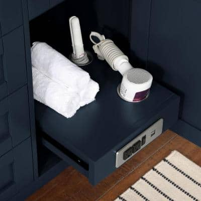 Tahoe II 60 in. W Bath Vanity in Midnight Blue with Cultured Marble Vanity Top in White with White Basin and Power Bar
