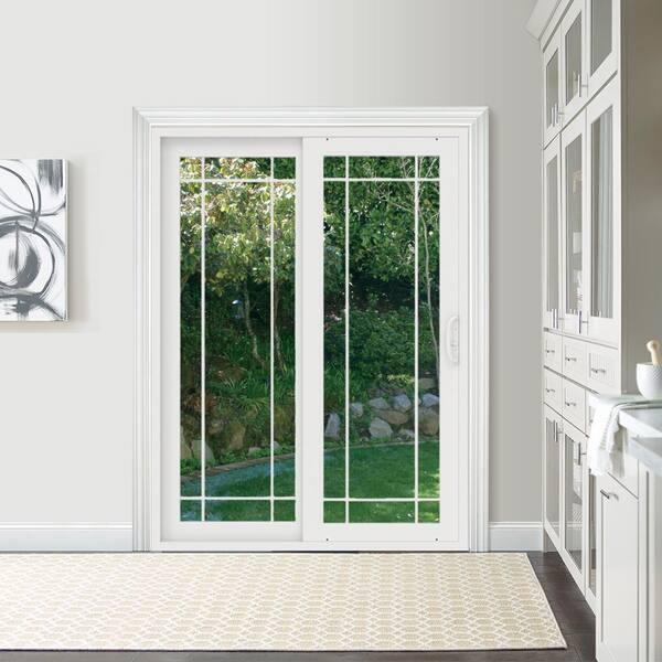 Jeld Wen 60 In X 80 In V 4500 White Vinyl Left Hand 9 Lite Sliding Patio Door Thdjw155900223 The Home Depot