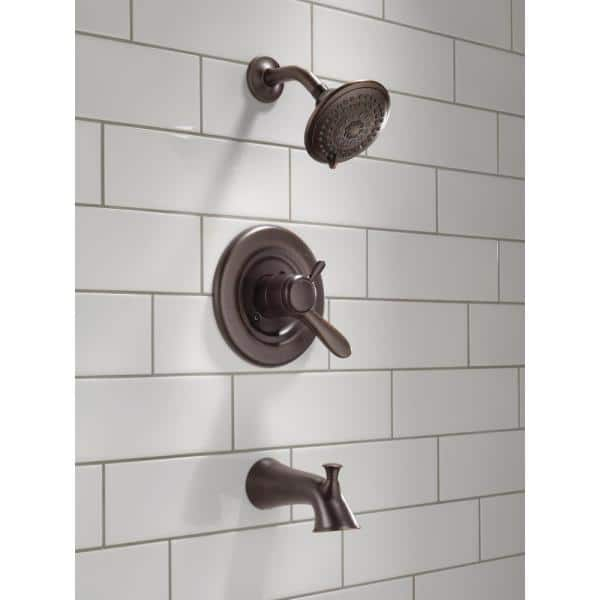 Delta Lahara 1 Handle Tub And Shower Faucet Trim Kit In Venetian Bronze Valve Not Included T17438 Rb The Home Depot