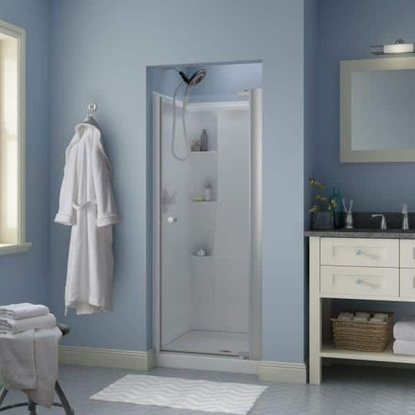 Delta Lyndall 30 In X 64 3 4 In Semi Frameless Contemporary Pivot Shower Door In Nickel With Clear Glass 2406357 The Home Depot