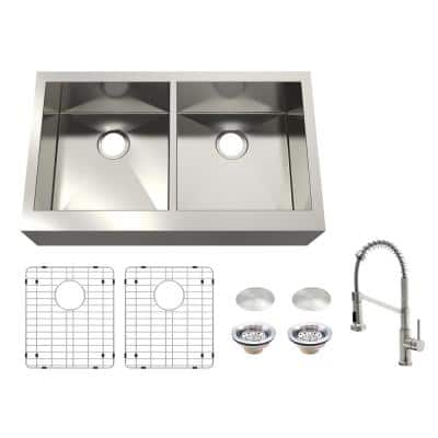 Zero Radius All-in-One Farmhouse Apron-Front 16-Gauge Stainless Steel 33 in. Double Bowl Kitchen Sink with Faucet