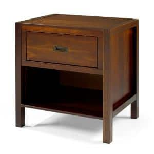 1-Drawer Classic Solid Wood Nightstand - Walnut