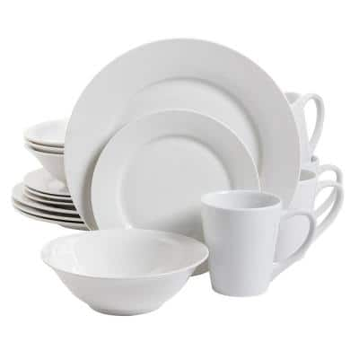 Noble Court 16-Piece Contemporary White Porcelain Dinnerware Set (Service for 4)