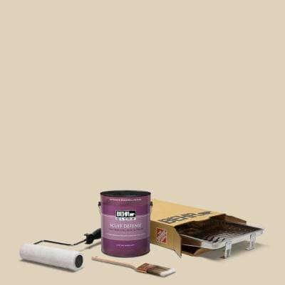 1 gal. #PPU4-12 Natural Almond Extra Durable Eggshell Enamel Interior Paint & 5-Piece Wooster Set All-in-One Project Kit