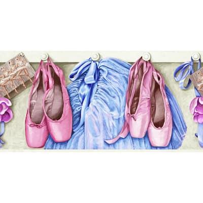 Pink, Blue, Brown Dance Ballet Prepasted Wallpaper Border