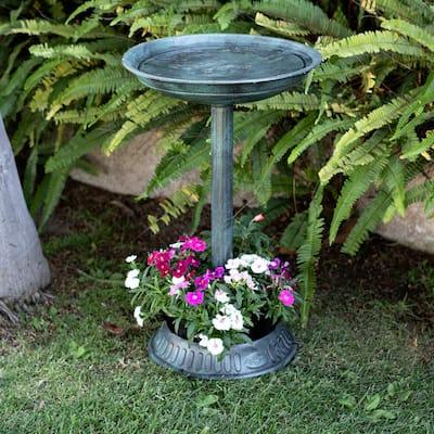 25 in. Tall Outdoor Birdbath with Planter Yard Statue, Green