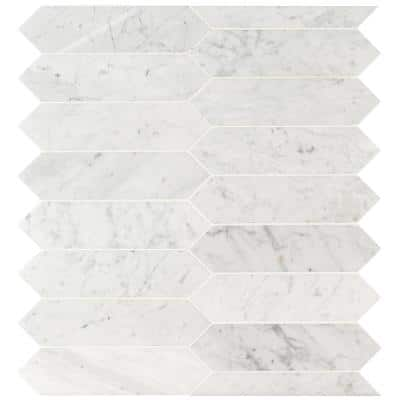 Carrara White Picket 10.63 in. x 12 in. x 8 mm Honed Marble Mosaic Tile (8.9 sq. ft. / case)