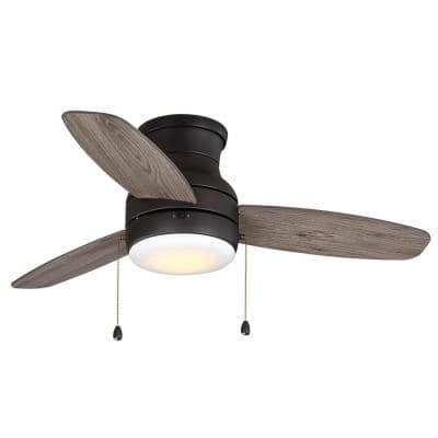 Ashby Park 44 in. White Color Changing Integrated LED Bronze Ceiling Fan with Light Kit and 3 Reversible Blades
