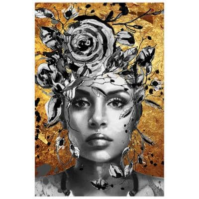 """""""Beautiful Woman & Flowers"""" Frameless Free Floating Tempered Glass Panel Graphic People Wall Art 32 in. x 48 in."""