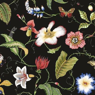 40.5 sq. ft. Jet Black Summer Garden Floral Vinyl Peel and Stick Wallpaper Roll