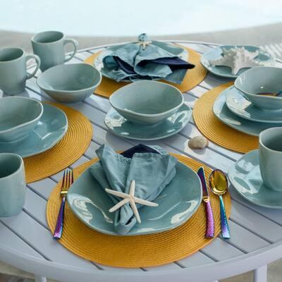 RYO 24-Piece Casual Light Blue Porcelain Dinnerware Set (Service for 6)