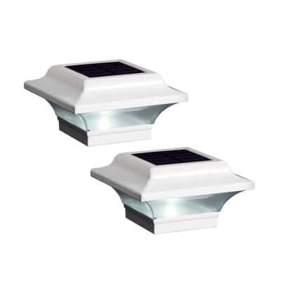 Imperial 2.5 in. x 2.5 in. Outdoor White Cast Aluminum LED Solar Post Cap (2-Pack)