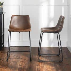 24 in. Brown Faux Leather Counter Stool (Set of 2)