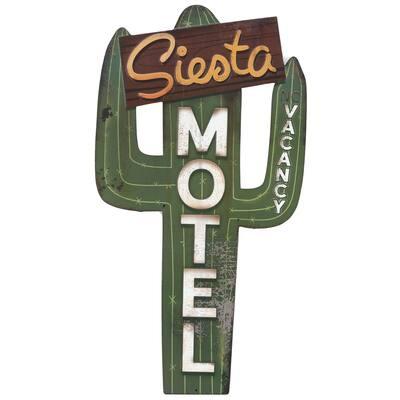 Siesta Motel Rustic Embossed Tin Sign