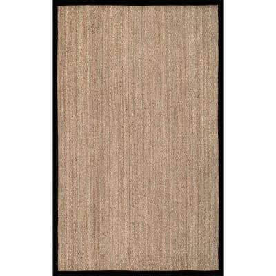 Elijah Seagrass with Border Black 8 ft. x 10 ft. Area Rug
