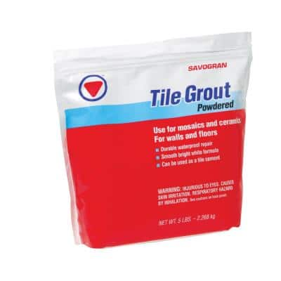 12842 5 lbs. Tile Grout White Waterproof Powder Mix With Water