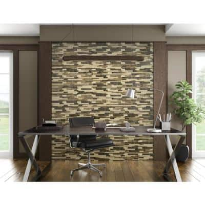 Tawny Mixed Browns 11.89 in. X 9.69 in. X 5 mm Stone Peel and Stick Wall Mosaic Tile