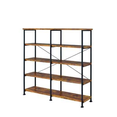 Rustically Designed 63 in. Brown Wood 4-shelf Standard Bookcase with Open Back